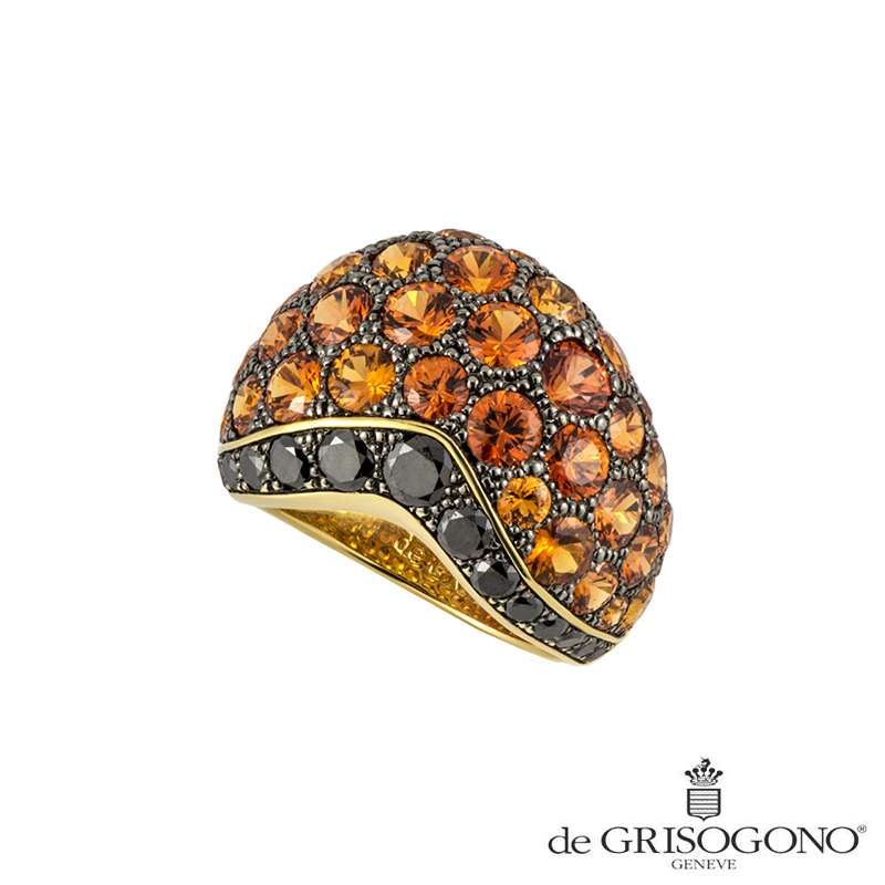 De Grisogono 18k Yellow Gold Sapphire and Diamond Ring